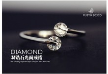 Vintage Double Crystal Adjustable Rings For Women Silver Plated Jewelry Wedding Accessories Ring Jewelry CZ R160310