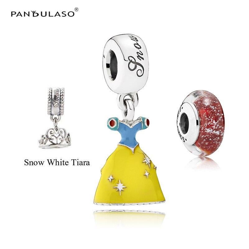 Pandulaso Snow White's Dress Crown Glass Beads Fit Charms Silver 925 Original Bracelets Fine Women Charms for DIY Jewelry Making
