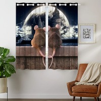 Blackout Curtains 2 Panels Grommet Top Darkening Curtain for Kids Bedroom Creative Mouse Castle Moon Heart Shaped Tail