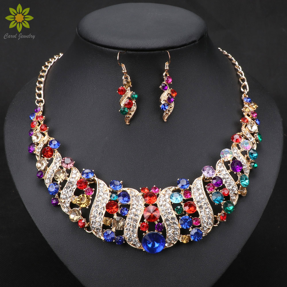Fashion Women Wedding Necklaces Sets Vintage Collar Rhinestone Crystal Choker Necklaces & Pendants Ethnic Maxi Jewelry Sets