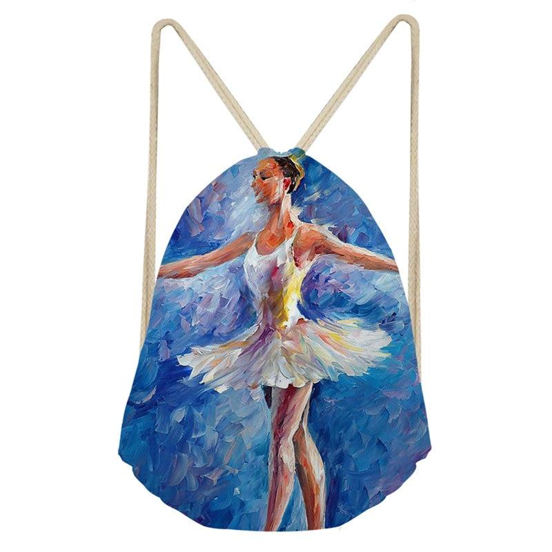 THIKIN Ballet Dancer Bunch Pocket Girls Shoulder Bags Toe Shoe Polyester Drawstring Bag High-Quality School Girls Backpacks