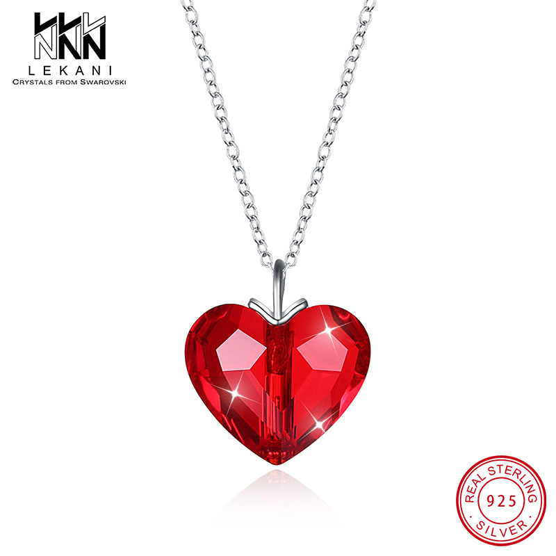 Exquisite Red Heart Crystal From Swarovski Pendant Necklace Women 925 Sterling Silver Chain Jewelry Lovers Valentine's Day Gifts