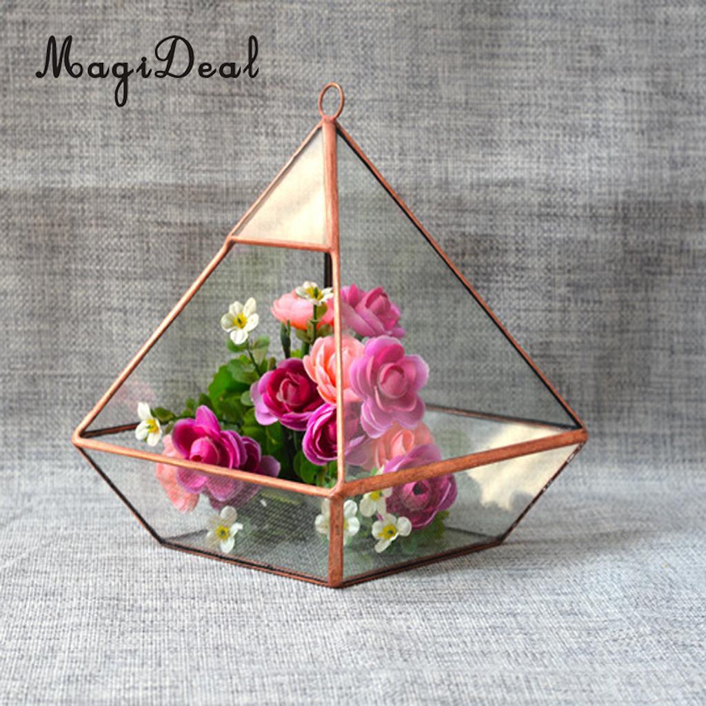 MagiDeal Glass Diamond Shape Micro Landscape Terrarium Jewelry Box Succulent Plant Planter Flower pot