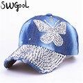 2016 Beauty caps new design popular women rhinestone denim baseball cap fashion brand woman jean crystal hip hop snapback hats