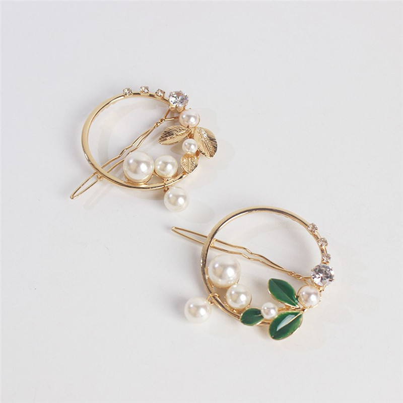 2019-New-Fashion-Women-Girls-Gold-Green-Leaf-Metal-Circle-Moon-Hair-Clips-Alloy-Round-Pearl (2)
