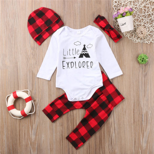 Fashion Newborn Baby Boys Girls Long Sleeve Letter Romper Plaid Pants Leggings Hat Headband 4PCS 2018 Spring Autumn Outfits