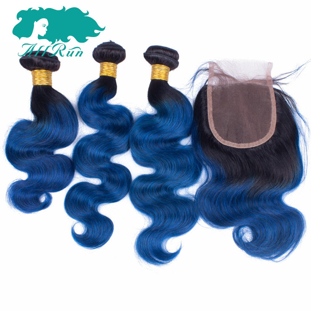 Allrun Pre-Colored Remy Brazilian Body Wave With Closure 4*4 10-20 100% Human Hair Weave Bundles