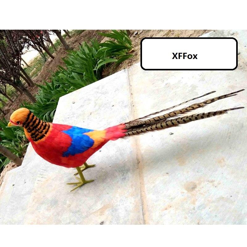 Long modèle de faisan doré simulation mousse & plume vraie vie rouge faisan oiseau poupée cadeau environ 90 cm xf1057