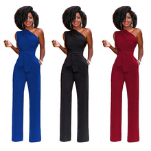 MAYFULLSexy Strapless sash straight Jumpsuit  women casual one shoulder spring long full length pants jumpsuits brand