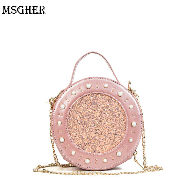 M.S Pearls Rivets Sequined Patchwork Round Bags Totes Circular Casual Womens Mini Handbags Quality Leather Messenger Bag WB433