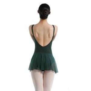 Image 3 - 大人のバレエドレスダブルスパゲティストラップノースリーブレオタードバレエボディスーツメッシュスカートダンスレオタード女性のための
