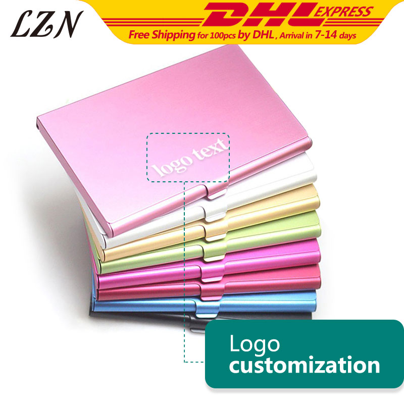 LZN Business Card Holder Aluminum Card Wallet ID Credit Card Holder Waterproof Card Protector Free Print Name/Date/Text As Gifts