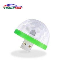 Foxcnsun Decorativa LED Car Atmosfera de Luz Interior Auto LEVOU USB Lâmpada Mini RGB Clube Efeito de Estágio Magia Luzes Car Styling 5 v