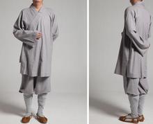 Conjunto de ropa lohan de algodón unisex, trajes de monje budista, robesartes marciales/uniformes de kung fu, ropa de budismo, color gris