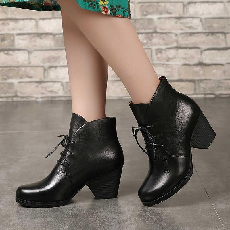 Deri yüksek topuk ayakkabı bayan hakiki deri kadın ayak bileği patik yuvarlak ayak dantel-up blok topuk moda kadın günlük çizmeler
