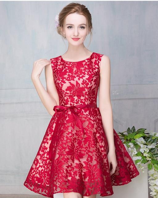 2017 Free shipping Red black dar blur O-neck short Party homecoming dress cocktail dress Graduation Dress Robe de soiree TK1510