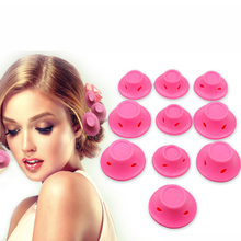 hot deal buy 10pcs soft rubber pink magic hair care rollers silicone hair curler no heat mushroom hairstyle sleeping bell hair styling tool