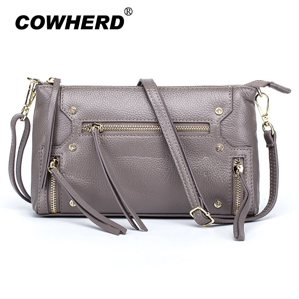 COWHERD Women Cow Leather Crossbody Bag Black/Light Blue/Elephant Gray/Lotus Pink/Taro Purple Ladies Shoulder Evening Bags игрушка ecx ruckus gray blue ecx00013t1