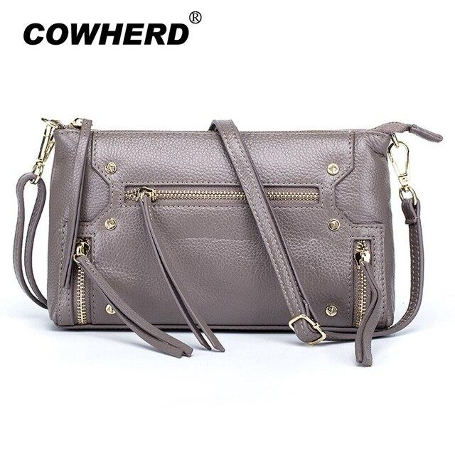 COWHERD Women Cow Leather Crossbody Bag Black Light Blue Elephant Gray Lotus  Pink 09b4415a7e739
