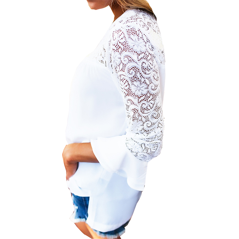 Autumn Blusas Cut Out Lace Shirts Patchwork Sexy Tshirt Black White T -Shirts Casual Women Top Tee Plus Size