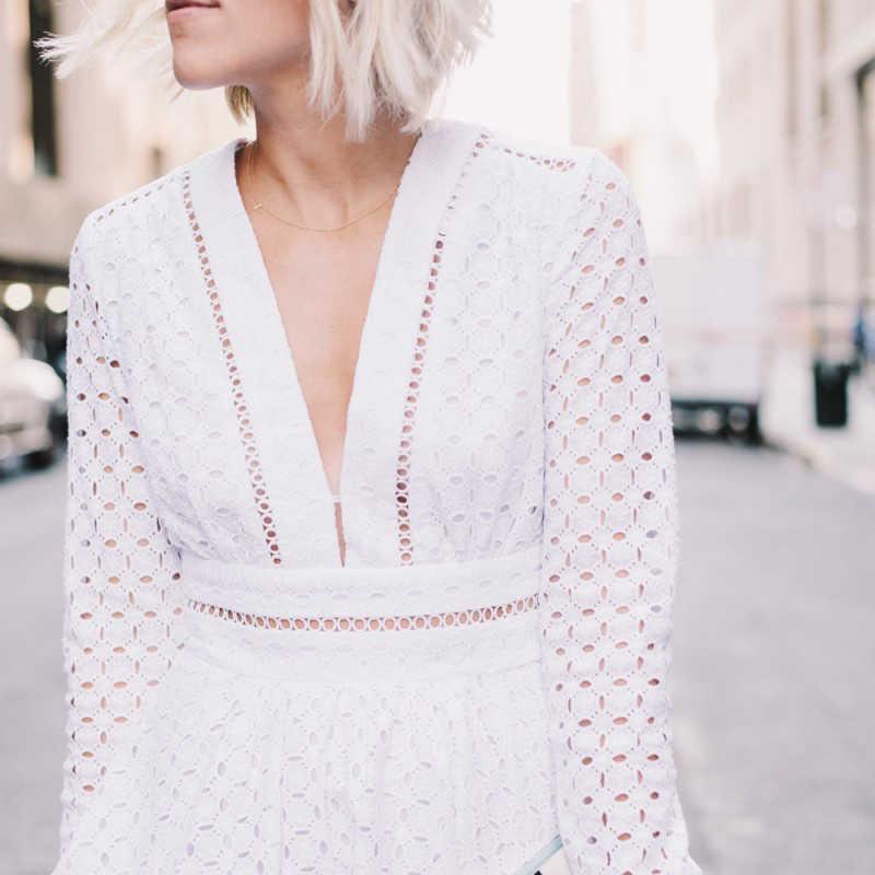 TWOTWINSTYLE Oco Out Dress For Women V Neck Túnica Cintura Alta Manga Longa Branca Mini Vestidos de Tutu 2019 Primavera Doce roupas