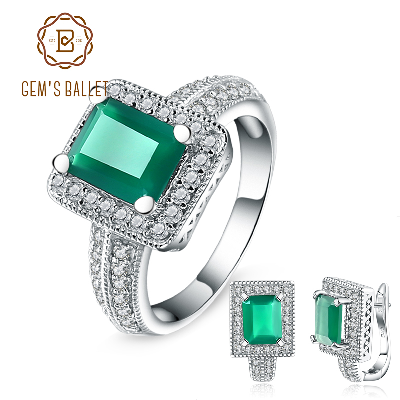 GEM S BALLET 6 15Ct Emerald Cut Natural Green Agate Gemstone Jewelry Set 925 Sterling Silver