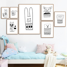 Cartoon Rabbit Bear Lion Animal Posters and Prints Wall Art Canvas Painting Nordic Poster Nursery Pictures Kids Room Decor