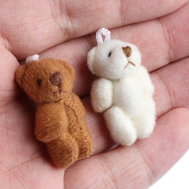 1Pcs Kawaii Small Bears Plush Soft Toys Pearl Velvet Dolls Gifts Mini Bear 1/12 Dollhouse Miniature Accessories