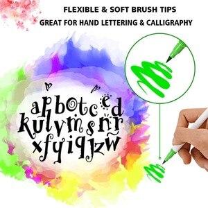 Image 3 - Pennello set marcatore per Rifornimenti di Arte 48/60/100/120 Colori Spazzola Morbida Marcatore Per Il Disegno Pittura Set Acquerelli penna per la Scuola
