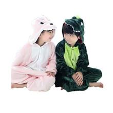 Милая Детская Пижама-комбинезон с рисунком динозавра, плотная одежда для сна для детей от 3 до 10 лет, Пижама для мальчиков и девочек Ночная одежда