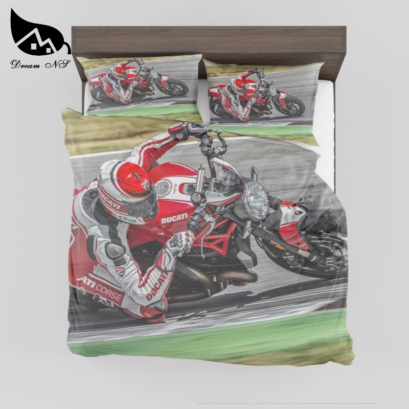 Dream NS High Definition 3D Bedding Set Digital Print Motorcycle Racing Quilt Cover Custom Home Textiles Bedclothes King BedDream NS High Definition 3D Bedding Set Digital Print Motorcycle Racing Quilt Cover Custom Home Textiles Bedclothes King Bed