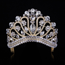 Gold Silver Crystal Rhinestone Royal Princess Wedding Bridal Pageant Prom Tiara Crown Gilr Women Tiaras Croowns T-042