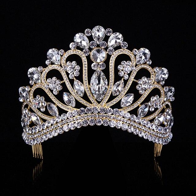 Gold Silver Crystal Rhinestone Royal Princess Wedding