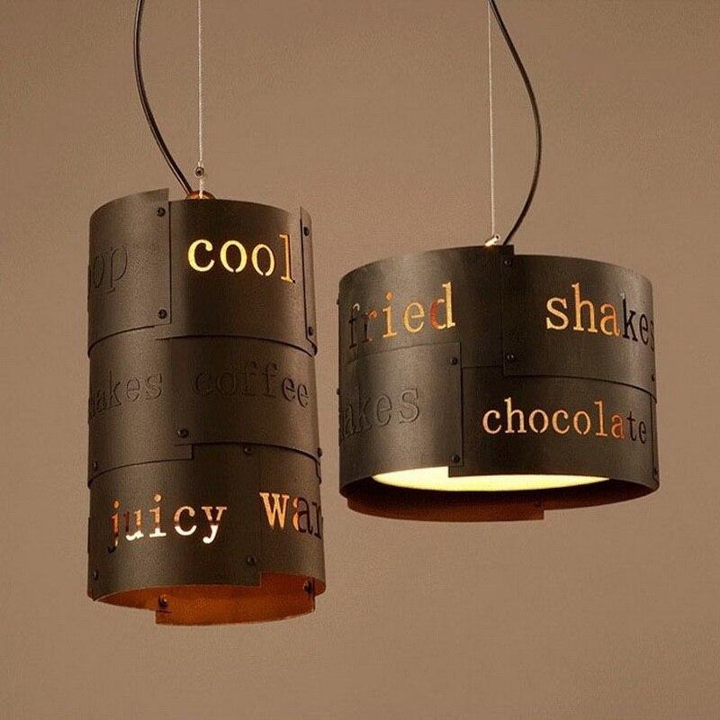 Loft Style personnalité anglais mot pendentif lumière café magasin lumière Restaurant lumière salle à manger lumière livraison gratuite