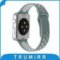 Faixa de relógio de borracha de silicone para a apple watch 38 iwatch mm 42mm nike Cinta esporte Pulso Pulseira Cinto Preto Azul Verde Branco + Adaptador