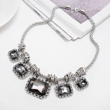 Vintage Big Rhinestone Pendant Necklace Square Stone Statement Necklaces for Wedding Clothes Accessories for Women DN1132