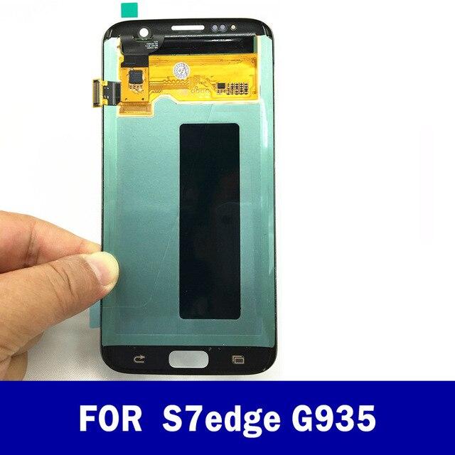 الأصلي سوبر Amoled لسامسونج غالاكسي s7 حافة G935 G935F شاشة الكريستال السائل شاشة مجموعة المحولات الرقمية لشاشة تعمل بلمس + أدوات LCD شاشة