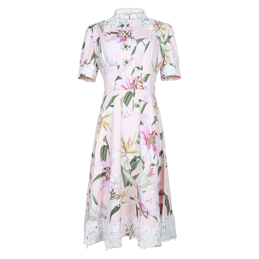VERDEJULIAY Runway Women Summer Dress 2019 Luxury 3D Lily Flower Print Midi Dress Lace Patchwork Slim