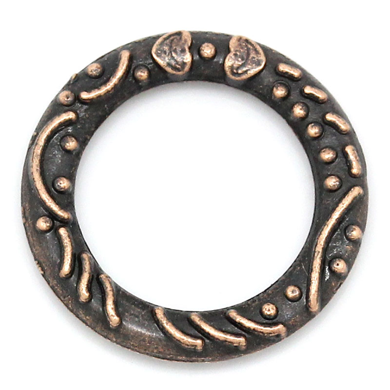 Zinc Metal Alloy Closed Soldered Jump Rings Round Antique Copper Stripe Pattern 14mm( 4/8