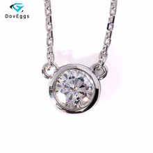 Solid 18k 750 White Gold 1 Carat ct Forever Brilliant Moissanite Solitare Pendant Necklace Lab Grown Diamond Fine Jewelry