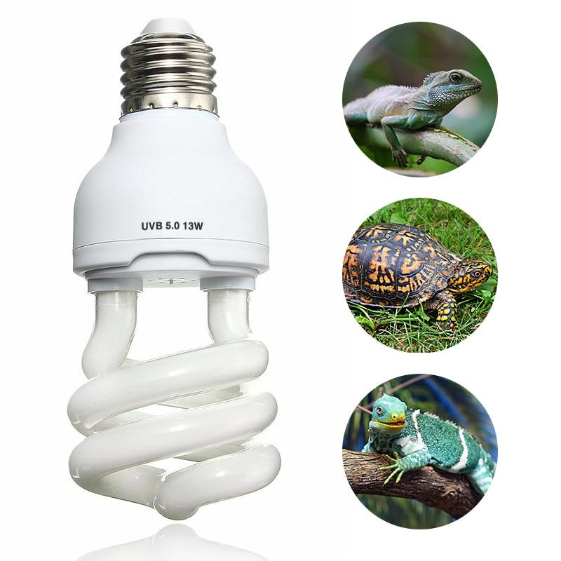 Pet Heat Light Bulb Emitter Ultraviolet E27 UVB 5.0 10.0 13W Reptile Light Glow Lamp Daylight Bulb for Tortoise Fish Amphibians