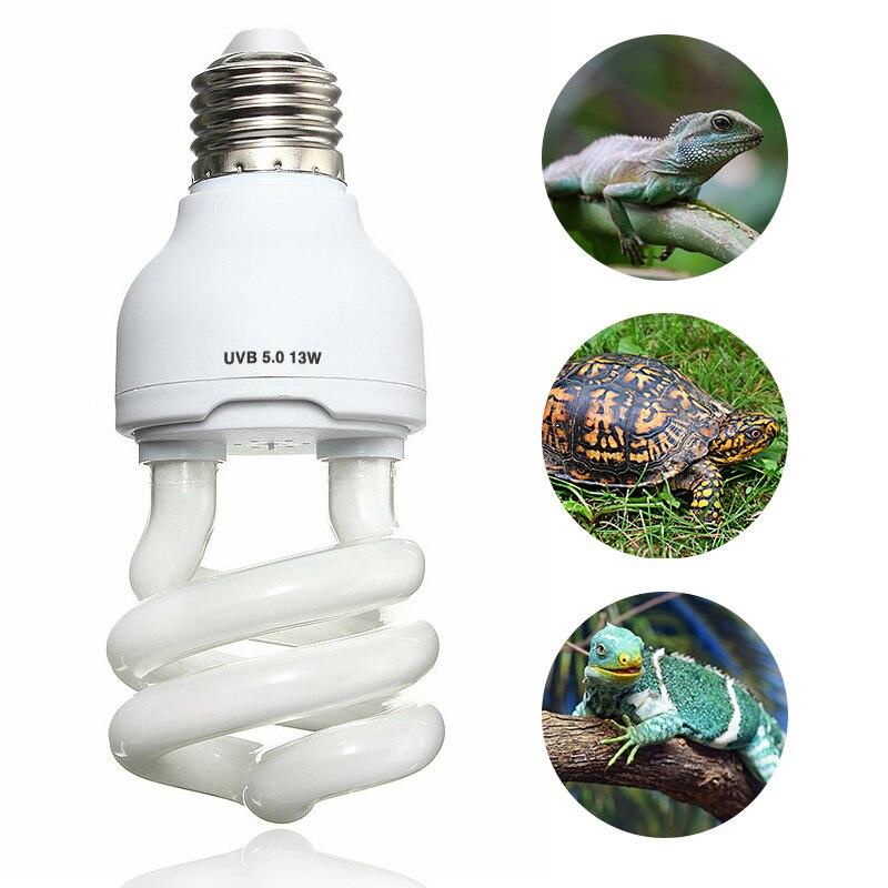 Pet Wärme Glühbirne Emitter Uv E27 UVB 5,0 10,0 13 watt Reptil Licht Glow Lampe Tageslicht Birne für Schildkröte fisch Amphibien