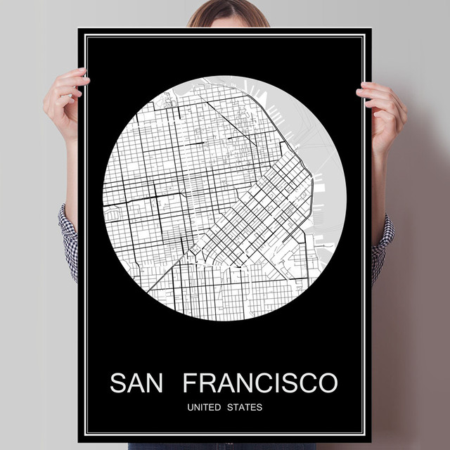 Black white city map of san francisco usa print poster print on paper or canvas wall