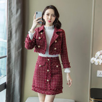 Red Tweed Jacket+Pencil Skirt Suit Winter Women's Short Jacket Coat Small Fragrant Golden Button Ladies Wool Two Piece Set
