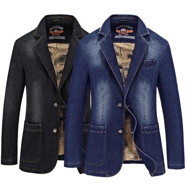 2017 Primavera Marca de Moda Slim Fit Hombres Traje Chaqueta Denim Hombre Jeans Blazer Plus Tamaño 3XL 4XL Negro Color Azul