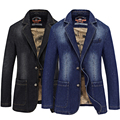 2017 Spring Fashion Brand Slim Fit Male Denim Suit Jacket Men Jeans Blazer Plus Size 3XL 4XL Black Blue Color