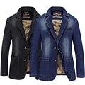 Marca de Moda Primavera 2017 calças de Brim Dos Homens Slim Fit Masculino Jaqueta Jeans Terno Blazer Plus Size 3XL 4XL Preto Cor Azul