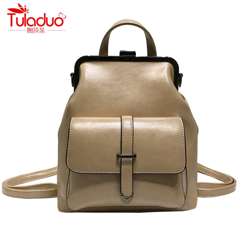 High Quality Oil Wax PU Leather Women Backpacks Fashion Doctor Bags Ladies Casual Daypacks Famous Brand Designer Women Backpack fashion style women crocodile pattern doctor women backpack famous bags women s pu leather rucksack bag z762