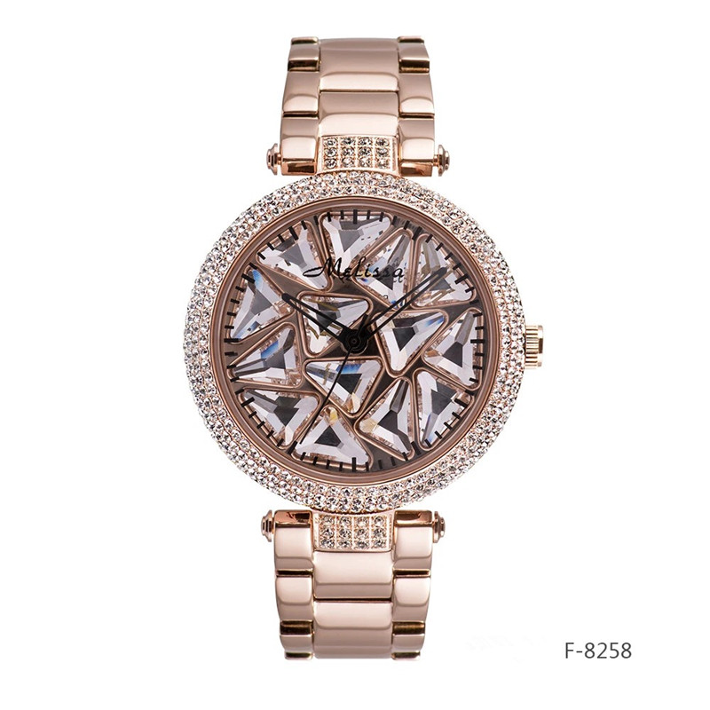Melissa luxe strass femmes bijoux montres bonne chance filature Montre Quartz acier Montre-bracelet cristaux rotation Montre Femme