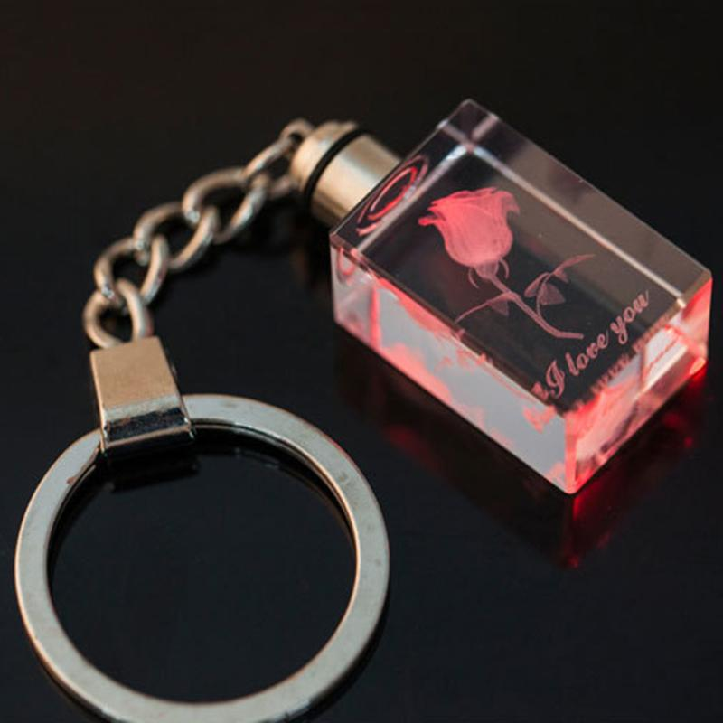 New Design Luminous Crystal Square Key Chains for Women Rose and Love Pattern Couple Gift Creative Keyring Accessories Jewelry